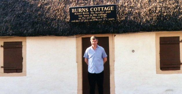 Burns cottage and Kev